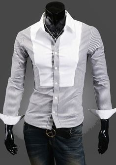 Men's Black & White Striped Button Down Shirt Striped Long Sleeve Shirt, White Long Sleeve, Long Sleeve Shirts, Casual Blazer, Casual Shirts, Men's Shirts, Cotton Shirts For Men, Latest Mens Fashion, Men's Fashion