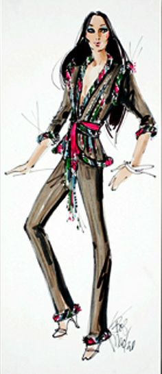 Bob Mackie costume sketch for Cher from igavelauctions.com