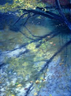 """Reflections by Rick Stevens   pastel on paper   23 x 16""""   1991"""