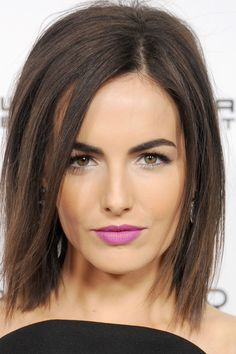 that purple lipstick - Camilla Belle   - HarpersBAZAAR.com
