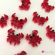 quilled paper red crabs ocean beach decor - How to use quilling for scrapbooking