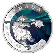 2016 Canada 1 oz $20 silver coin - Geometry in Art: Polar Bear (coloring).