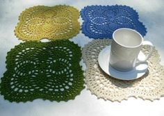 Crochet Placemat Set of 4 Coasters. Lace Round, Cotton Bamboo Yarn. $32.00, via Etsy.