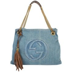 Preowned Gucci Blue Denim Medium Soho Tote Bag - Blue Denim/brown... ($977) ❤ liked on Polyvore featuring bags, handbags, tote bags, blue, brown tote, gucci tote bag, brown leather purse, leather purses and brown leather handbags