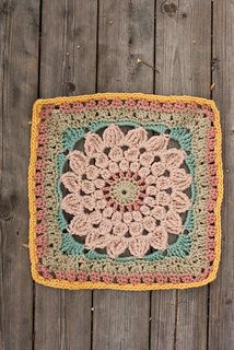 """This square works up to 12"""" if done in worsted weight yarn and 9 1/2"""" if done in DK. Its size can be easily modified by adding rows to the outside."""