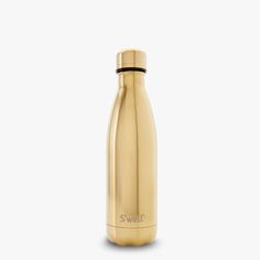 S'well stainless steel water bottle with a gold reflective finish. Keeps liquids cold for 24 hours and hot for 12.
