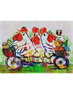 Vrolijk Schilderij Poster kippen op fiets 70x50