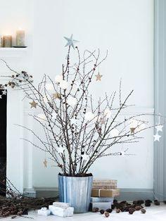 Fleurs de coton et étoiles - Kerstboom