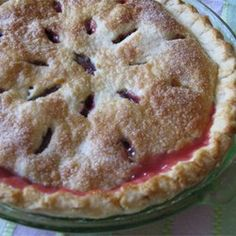 Fresh Rhubarb Pie Allrecipes.com  | Made this last night....it's a keeper!  I used a Trader Joe's pie crust I had in the freezer and this great filling!  Brushed the crust lightly with milk and sprinkled sugar over top.   -Max