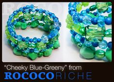 """Go bold and bright with blues and greens in """"Cheeky Blue-Greeny""""! Natural stone, faceted beads, glass pearls, and more come together for an attention-grabbing bracelet.  Blue and Green Bracelet with Memory Wire Fun Bright by RococoRiche, handmade jewelry available on Etsy!"""