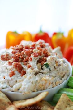 Cheddar Bacon Ranch Dip (aka Memorial Day Dip) Switch out the cream cheese and sour cream to fat free versions, cheddar cheese or sharp cheddar and smaller amount. Not sure if you could get away with turkey bacon or not. Bacon Ranch Dip, Bacon Dip, Bacon Avocado, Avocado Salad, Dip Recipes, Snack Recipes, Cooking Recipes, Snacks, Bacon Recipes