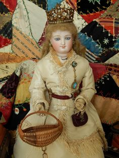 Vintage French fashion basket. Now available in my Ruby Lane shop:  Kim's Doll Gems