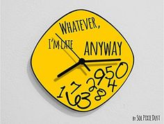 Whatever, I'm Late Anyway / Oval Yellow - Wall Clock. If would you like to choose any other color for the background or the hands color, just email me about it. ✔ SPECIFICATIONS ❂ 3mm thick black mat acrylic face with high quality printed vinyl on it ❂ My clock mechanisms are EZ Quartz® Sweep (Non Ticking - Silent) and RoHS Approved! ❂ Requires 1 AA battery (not included) ❂.