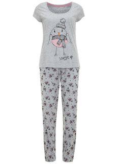 Grey Robin Pyjamas - Nightwear - Clothing - Dorothy Perkins