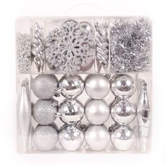 werchristmas 60 piece deluxe variety christmas tree baubles decoration pack with tinsel and beads silver amazoncouk kitchen home - Silver Christmas Decorations Uk