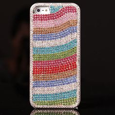 New Style Rainbow Rhinestone Hand Made Hard Case for iPhone 5