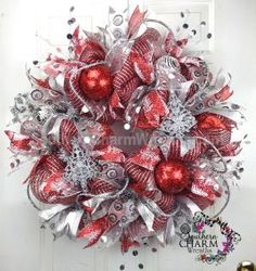XL DELUXE Deco Mesh CHRISTMAS Wreath For Door or Wall Red Silver Tree Ornaments by www.southerncharmwreaths.com #decomesh #wreath #christmas #silver #red #glam by jodie