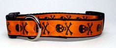 Skulls Halloween Orange with Black  Dog by KibblesandCollars
