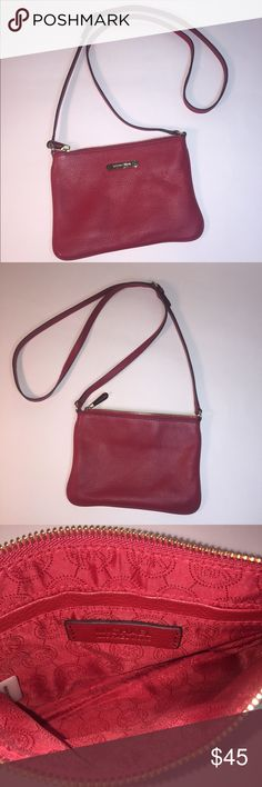 """Michael Kors Crossbody Bag - Authentic Gently worn, soft red pebbled leather with gold tone accents, adjustable strap and zippered close.  Inside pocket. Measures 8"""" w x 5.5"""" h. Shoulder drop: 23"""". Easily fits an iPhone 6+. MICHAEL Michael Kors Bags Crossbody Bags"""