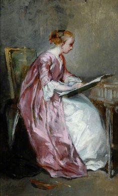 Charles Joshua Chaplin - Jeune femme dessine 1866