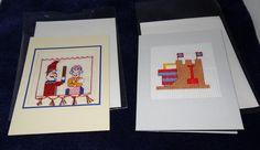 two blank greetings cards cross stitched by LittleInsect on Etsy £1.99