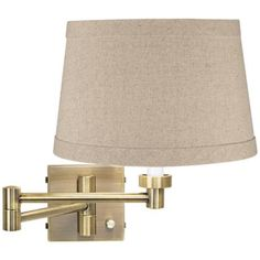 Natural Linen Drum Shade Brass Plug-In Swing Arm Wall Lamp - $95