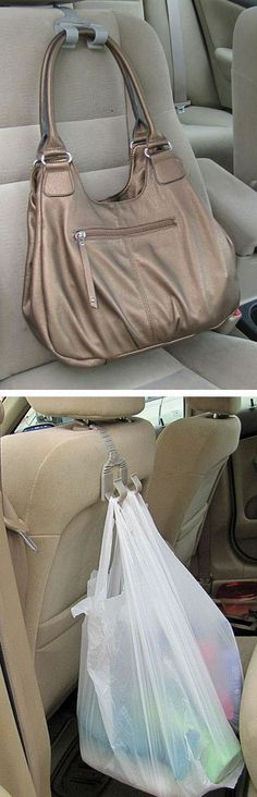 Bag Grabber // genius set of hooks to hang bags in the car