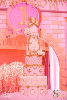 What a stunning pink and gold cake at a princess birthday party! See more party ideas at CatchMyParty.com!