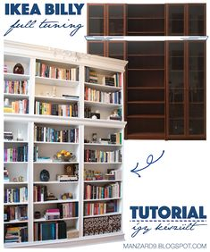 IKEA BILLY hack - tutorial » beépített könyvespolc - így készült I Manzard9 Ikea Billy Hack, Bookcase, Hacks, Shelves, Projects, Home Decor, Log Projects, Shelving, Blue Prints