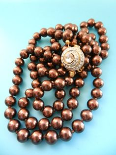 Wonderful Italian necklace, 1970s - 2 wire cascade of good quality chocolate color pearls,precious clasp & elegant color --Art.293/3-