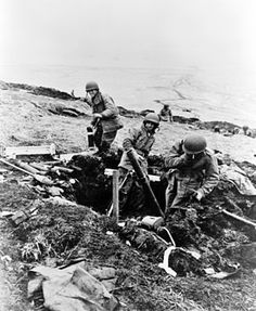Soldiers hurling trench mortar shells over ridge into Japanese positions, Attu, Aleutian Islands (Library of Congress, Prints & Photographs Division, FSA/OWI Collection) Nagasaki, Hiroshima, Attu Island, Iwo Jima, History Online, Pearl Harbor, China, Military History, Ww2 History