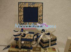 Cornice porta foto, scatolina con confetti. http://www.mondoregalo2001.it/index.php/foto-gallery/bomboniere-comunione/