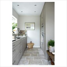grey galley kitchen- all of this please!