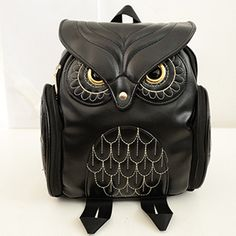 RU&BR New Fashion Backpacks Casual Splice Bags Gothic Design Women Backpacks Owl Stylish Cool Black Women Bags Travel Backpacks