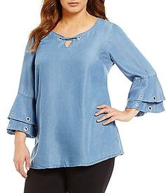 0f984456be3 Intro Plus 3/4 Ruffled Sleeve Grommet Embellished Denim Lyocell Top Plus Size  Tops,
