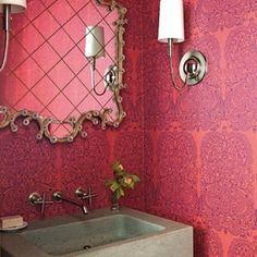 Beautifully patterned wallpaper #interior #design #bathroom #global #bohemian #style #graymarket #pattern