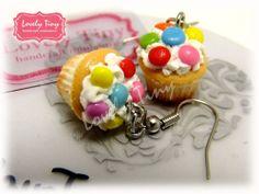 Kawaii Fashion Accessories Handmade M&M chocolate Cupcake Charms Earrings.