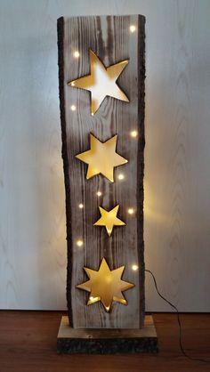 Holzbrett mit Sterne + LED Beleuchtung