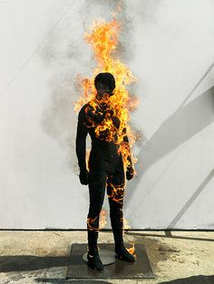 man set on fire. unknown but i likes it Fire Photography, Portrait Photography, Man On Fire, Fire Fire, Horror Photos, A Moment In Time, Light My Fire, Man Set, The Smoke