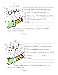 Cute, quick, EASY way to let parents know why a student had to change!