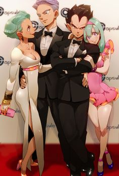 """The Vegeta Clan. It's a shame that this artists' work is so sexual, I like the style. Like here, Bulma and Trunks are giving me """"vibes"""" if you know what I mean."""