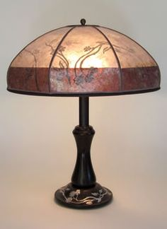 ANTIQUE BRONZE LAMP: HEINTZ ART METAL WITH FLORAL DESIGN + TWO TONE FLORAL MICA SHADE