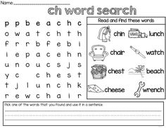 Diagraph (th, sh, ch and sh) activities. Includes both beginning and ending sound.