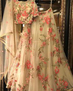 Mono Net Cream Colour Fabric Party Wear Lehenga Choli Comes With Matching Blouse. This Lehenga Choli Is Crafted With Thread Work. This Lehenga Choli Comes With Unstitched Blouse Which Can Be Stitched . Outfit Designer, Indian Designer Outfits, Designer Dresses, Ghagra Choli, Lehnga Dress, Lehenga Blouse, Party Wear Lehenga, Party Wear Dresses, Bridal Dresses