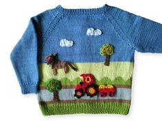 Cute raglan jacket for little farmers Kids Knitting Patterns, Baby Cardigan Knitting Pattern, Knitting For Kids, Baby Boy Sweater, Baby Sweaters, Diy Crafts Knitting, Cross Stitch Baby, Embroidery Fashion, Sweater Design