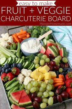 Charcuterie Board with Fruit and Vegetables Fruit platter simple Charcuterie Board with Fruit and Vegetables - Hoosier Homemade Fruit platter simple Charcuterie & Cheese board ide Fruit platter veggie tray Charcuterie & Cheese board ide Charcuterie Recipes, Charcuterie Platter, Charcuterie And Cheese Board, Cheese Platter Board, Cheese Boards, Cheese Platters, Cheese Party Trays, Charcuterie Display, Finger Food Appetizers