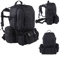 SKB family New Outdoor Military Tactical Backpack Rucksack Camping Bag Hiking BLACK -- Visit the image link more details. (This is an affiliate link) Backpacking Hammock, Backpacking Gear, Camping Survival, Hiking Gear, Survival Gear, Camping Gear, Survival Backpack, Survival Stuff, Survival Equipment