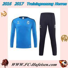 Billige Trainingsanzüge Fussball Herren Kits Real Madrid Blau Klar Seson 2015 2016 Thailand Outlet