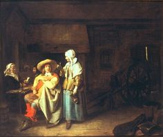 Soldier with Maid and Cardplayers in a Tavern - Pieter de Hooch.  1655.  Oil on canvas.  58 x 71 cm.  Wallraf-Richarz-Museum, Cologne, Germany.