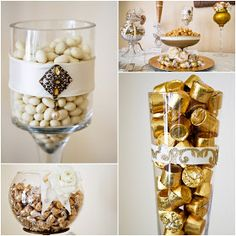Gold and white candy display